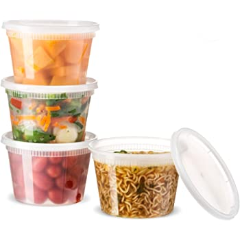 [24 Count 16 Oz Combo] Basix Disposable plastic Deli Food Storage Containers With Plastic Lids, Leakproof, Great For Meal Prep, Picnic, Take Out, traveling, Fruits, Snack, or Liquids