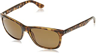 RAY-BAN RB4181 Square Sunglasses, Shiny Dark Tortoise/Polarized Brown, 57 mm
