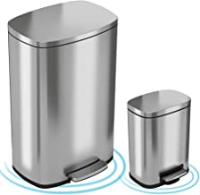 iTouchless SoftStep Combo Pack 13.2 Gal & 1.32 Gal Step Trash Can with Odor Filter & Inner Bucket, Stainless Steel Step Pe...
