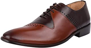 Liberty Men's Genuine Handmade Finest Leather with Burnished Toe - Lace up Oxford Dress Shoes