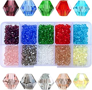 Chengmu 1000pcs 4mm Bicone Glass Beads for Jewelry Making Faceted Shape Multicolor Crystal Spacer Beads Assortments Supplies Findings for Bracelet Necklace with Elastic Cord Storage Box
