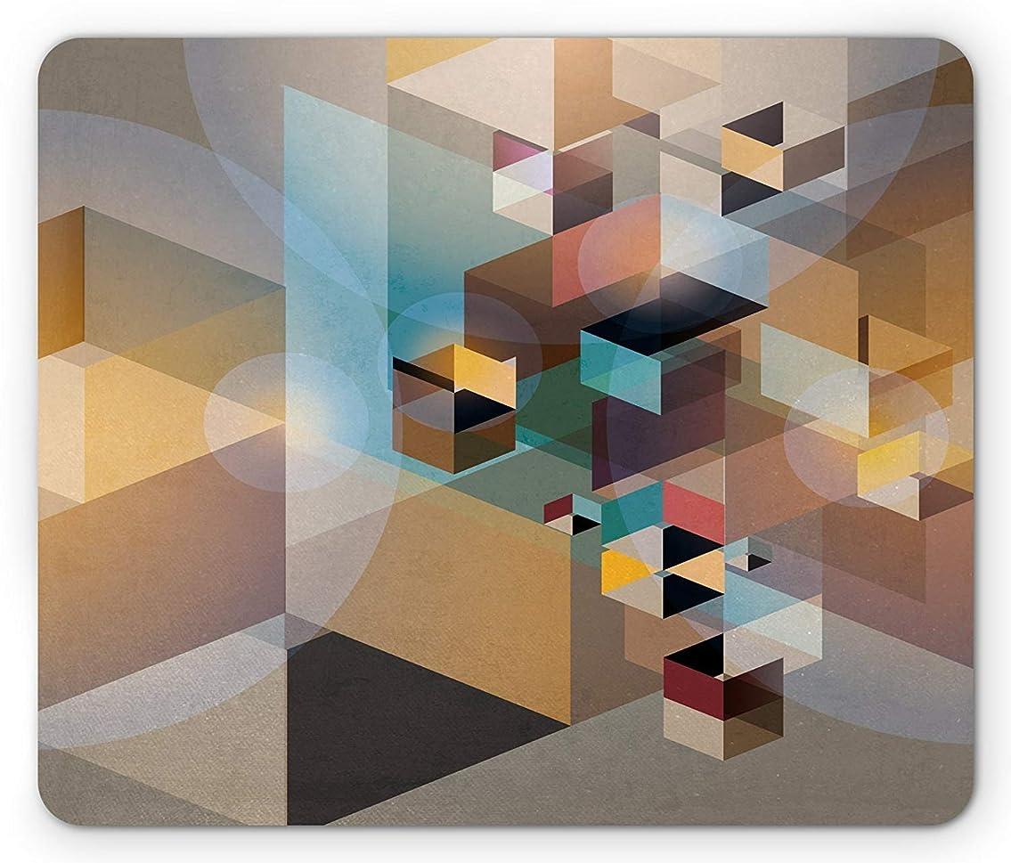ポスター農場分布現代美術のマウスパッド、抽象的な幾何学的な三角形と斜めのイメージの視点から見たレトロなデザイン、標準サイズの長方形の滑り止めラバーマウスパッド、多色