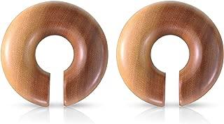 Organic Saba Wood Round Plug Earrings, Sold as a Pair