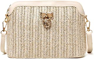 GSERA Stroh Umhängetaschen für Frauen Gewebte Pu Leder Beach Holiday Damen Shell Shoulder Bag