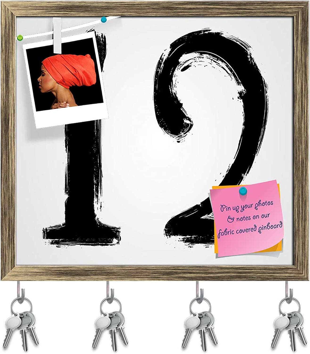 Artzfolio Grunge Numbers Key Holder Hooks   Notice Pin Board   Antique golden Frame 17.7 X 16Inch