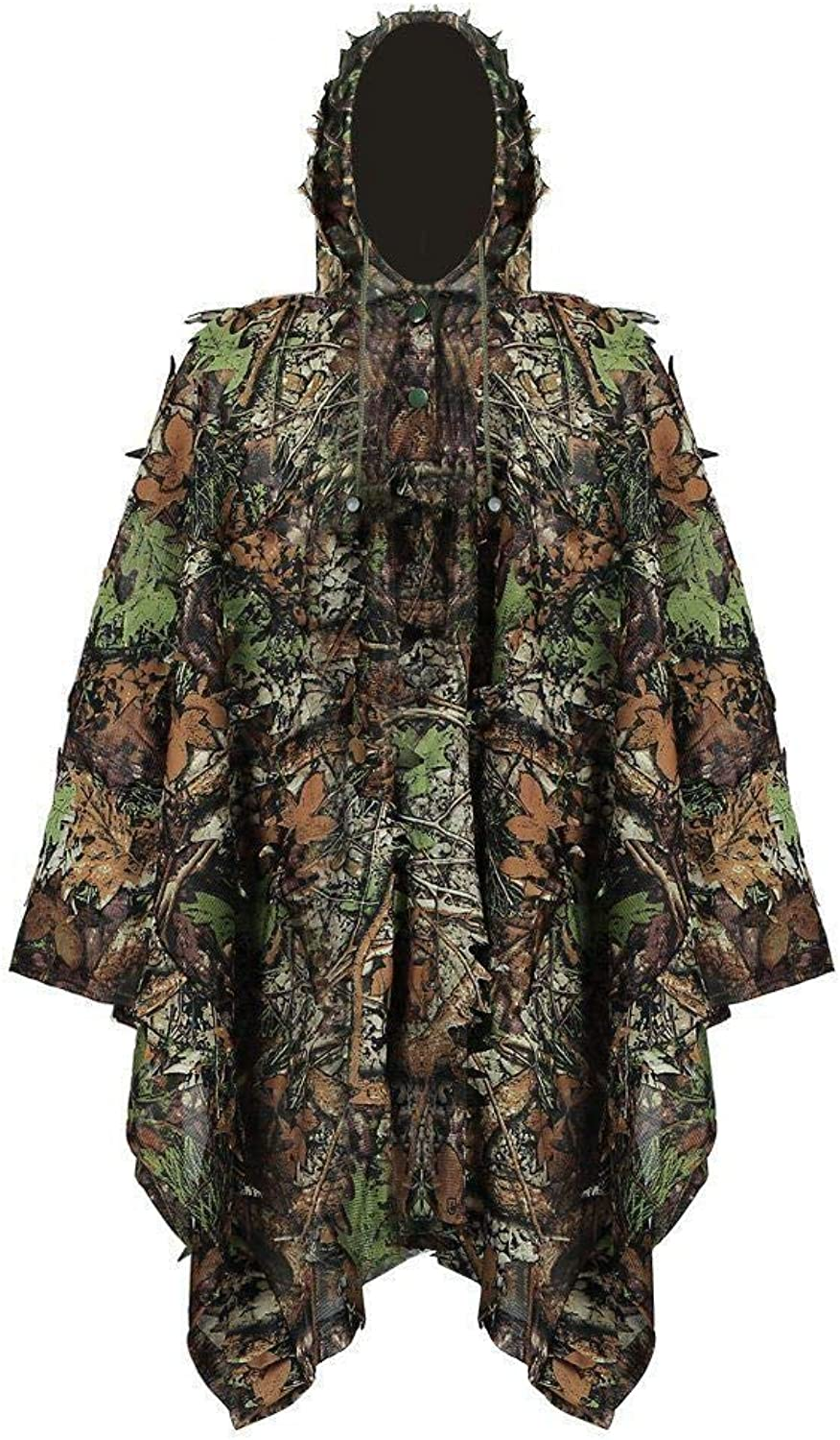 E5e10 Adult Outdoor Ghillie Suit 3D Leafy Leaves Camouflage Lightweight Clothing Jungle Woodland Hunting Camo Poncho Cloak