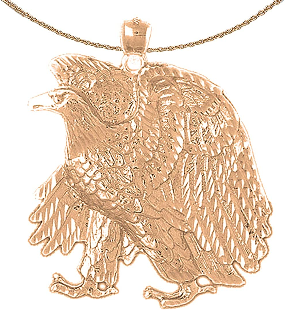 Jewels Obsession Eagle Jacksonville Mall Necklace 14K Gold Sales results No. 1 Pendant wi Rose
