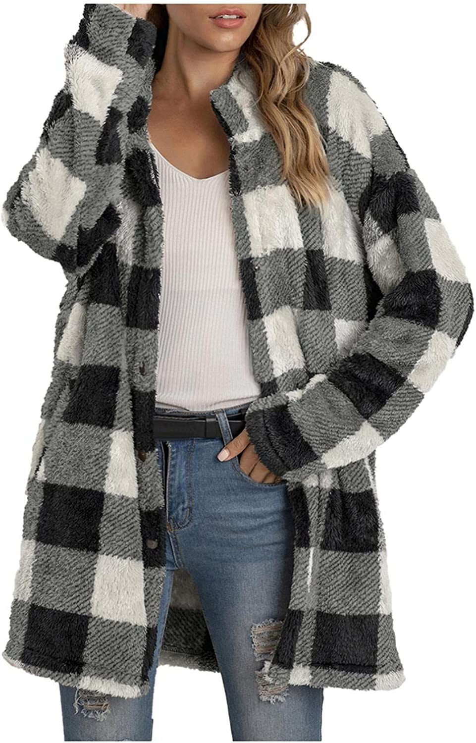 Women's Casual Parkas With Fur Hood Cardigan Coat Christmas Plaid Printing Long Sleeve Buttons Plush Outwear Overcoat