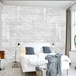 BHSWD Wallpapers de Piedra de ladrillo de Color Gris Claro Vintage Fondos de Fotos Murales Dormitorio Papeles de Pared para Pared 3D Decoración para el hogar Sala de estar-400 * 300 cm