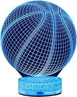AZALCO 3D Illusion LED Night Lamp Basketball with Built-in Battery