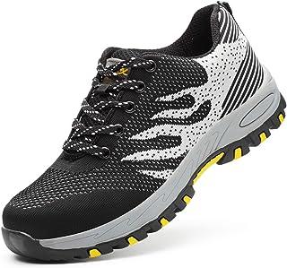 Scarpe Antinfortunistiche Uomo Donna con Punta in Acciaio Unisex Leggere Traspiranti Scarpe Sportive di Sicurezza Sneaker ...
