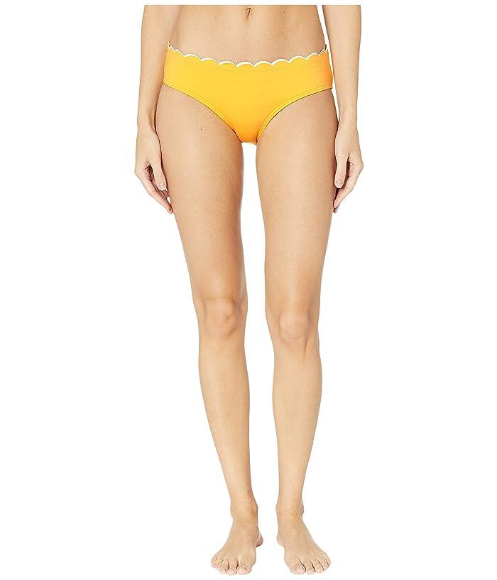 Kate Spade New York Fort Tilden Contrast Scalloped Hipster Bikini Bottoms (Limone) Women