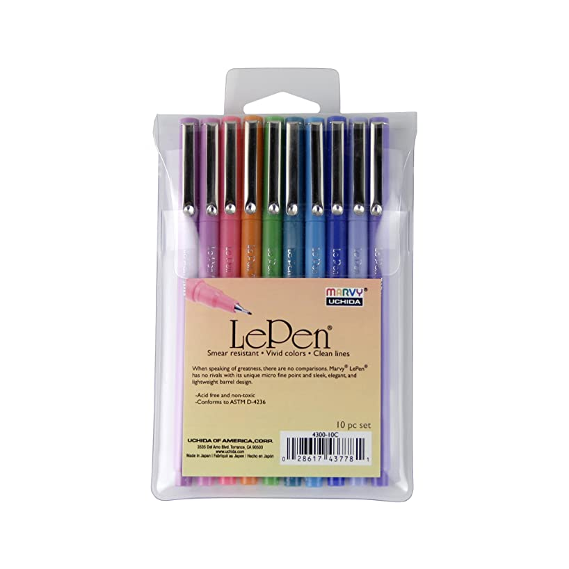 Uchida of America 4300-10C 10-Piece Le Pen Drawing Pen Set, 0.3 Point Size