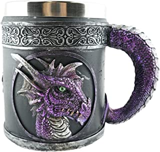 Mythical Purple Royal Dragon Beer Coffee Mug Serpent Handle Medieval Collectible Magical Halloween Party Home Decor Gift