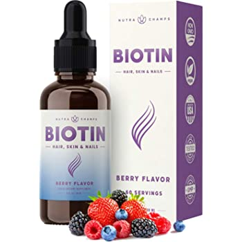 Biotin Liquid Drops 10000mcg [Double Size] 60 Servings, Vegan, Sugar-Free - Supports Healthy Hair Growth, Strong Nails & Glowing Skin - 3X More Absorption Than Pills - Organic Berry Flavor Supplement