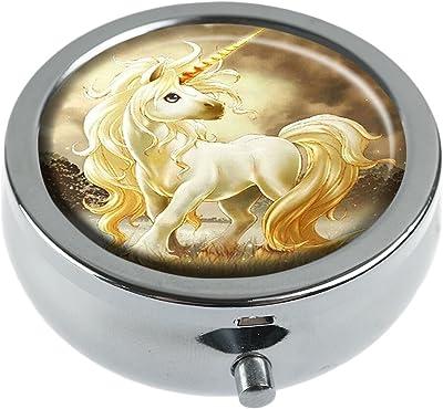 Hiuyi Unicorn head Custom Personalized Round Pill Box Pocket Wallet Travel Pill Vitamin Decorative Box Protector