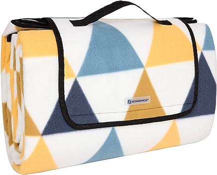 SONGMICS Picknickdecke 200 x 200 cm, XXL, aus Fleece, wärmeisoliert und wasserdicht, mit Tragegriff GCM76S