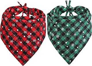 Lamphyface 2Pcs Dog Bandana Christmas Pet Triangle Scarf Plaid Snowflake Accessories Bibs for Dog Cat