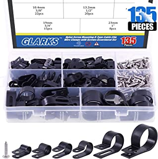 Glarks 135Pcs 6 Sizes 1/4''-1'' Black Nylon Screw Mounting R-Type Cable Clip Wire Clamp with 132Pcs Screws for Wire, Cable, Conduit and Cable Conduit Kit (Black)