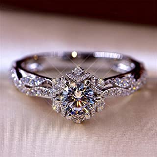 Exquisite Hollow Out Ring, Diamond Cluster Ring Engagement Wedding Jewelry Accessories, Cubic Zirconia Stackable Rings Jew...