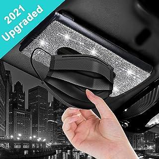 Tissue Holder Bling for Car,Car Sun Visor Tissues Holder Napkin Box,Universal Car Vehicle Facial Paper Dispenser,Sparkle D...