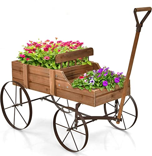 """2021 Giantex Decorative Garden Planter, 2021 Small Wagon Cart online with Metal Wheels, Wood Raised Beds Plant Pot Stand for Backyard Garden Patio 24.5""""x13.5""""x24"""" (Natural) online sale"""