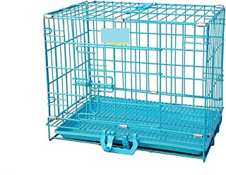 RvPaws Easy to Move with Removable Tray Iron Cage/Crate/Kennel for Dog & Rabbit 18 Inch Sky Blue