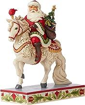 Enesco Jim Shore Heartwood Creek Santa Riding Horse Seasonal Steed Figurine, 9-Inch Height, Red and White