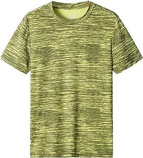 Moda Color Sólido Camiseta de Manga Corta para Hombre Fitness Entrenamiento Transpirables Secado rápido T-Shirt de Verano ...