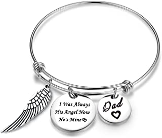 ENSIANTH Dad Memorial Jewelry I Used to Be His Angel Now He's Mine Bangle Jewelry Sympathy Gift for Her with Angel Wing