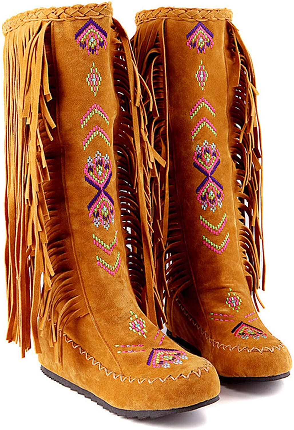 Womens Wedge Heel Boots Over The Knee Ethnic Style Embroidery Retro Fringe Calf Boots