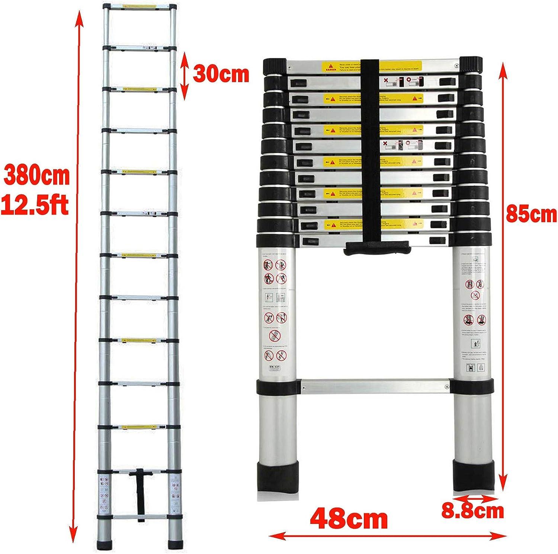 Ladder Extendable 2.6M 8.5FT Extension Telescopic Straight Stepladder Portable Foldable Multipurpose Aluminum Ladder Heavy Duty 330lbs//150kg Capacity EN131 CE Safety Standard for Home Loft Warehouse