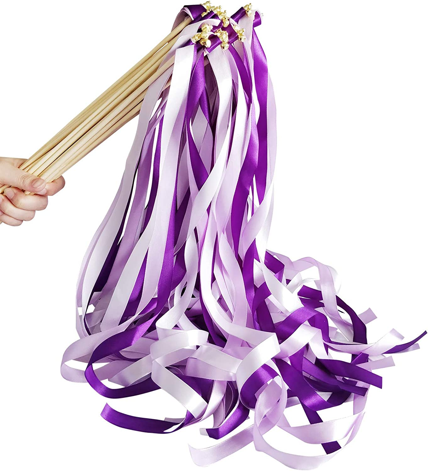 Hangnuo 30 Pack Wedding Wands Ribbon Streamers with Bell Fairy Stick Party Favor for Baby Shower Holiday Celebration, Purple