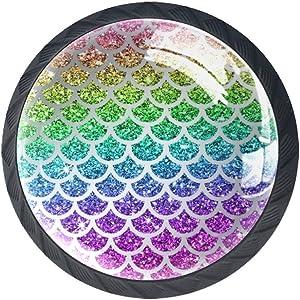 Cabinet Knobs Rainbow Mermaid Scales Drawer Knobs Crystal Glass 4 Pieces Dresser Cupboard Furniture Pulls Hardware Round knob 1.38 in X 1.1 in