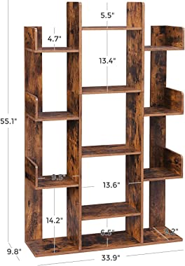 """VASAGLE Bookshelf, Tree-Shaped Bookcase with 13 Storage Shelves, Rounded Corners, 33.9""""L x 9.8""""W x 55.1""""H, Rustic Brown ULBC6"""