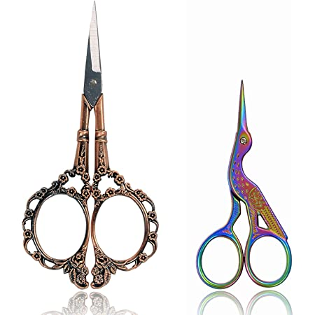 BIHRTC Vintage Plum Blossom Scissors and Classic Crane Design Sewing Scissors for Embroidery, Sewing, Craft, Art Work & Everyday Use(Copper+Colorful)