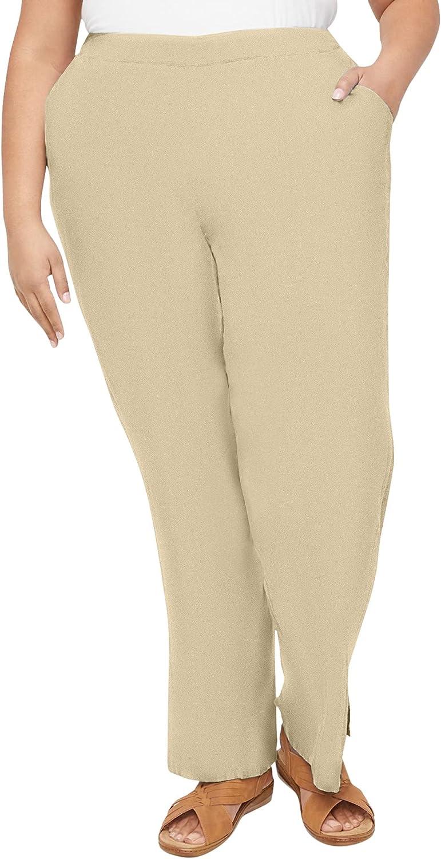Catherines Women's Plus Size Seashore Stripe Linen Blend Pant