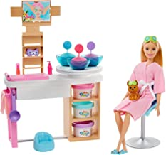 Barbie Face Mask Spa Day Playset with Blonde Barbie Doll, Puppy, 3 Tubs of Barbie Dough and 10+ Accessories to Create and ...