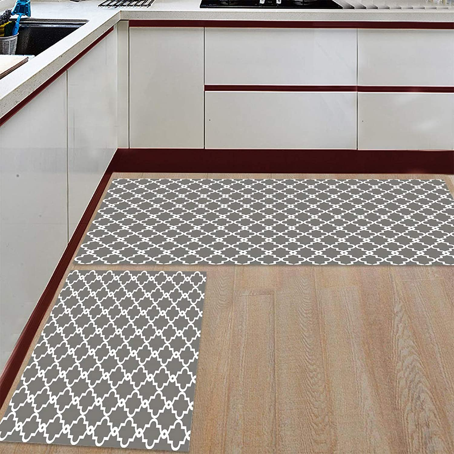 Livencher Kitchen Mats 2 Piece Rubber Backing Non-Slip Kitchen Bathroom Mat Doormat Area Rugs - Geometric Patterned - Grey 19.7x31.5in+19.7x63in