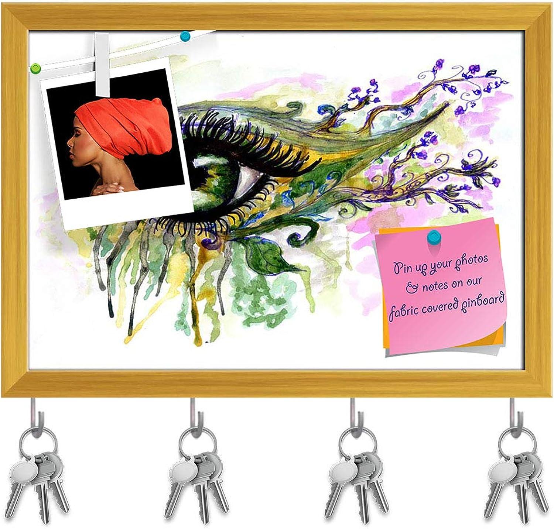 Artzfolio Abstractive Eye Splashing D4 Key Holder Hooks   Notice Pin Board   golden Frame 14.1 X 10Inch