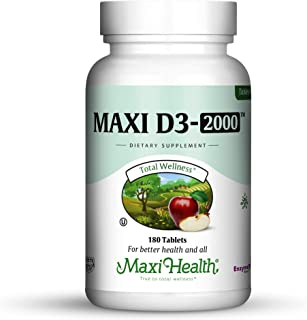 Maxi Health Vitamin D3 2000 IU - for Healthy Muscle Function, Bone Health and Immune Support – Tablets – Best Kosher S...