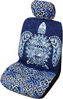 Side Airbag Optional; Sea Turtle Separate Headrests Car Seat Covers - Set of 2