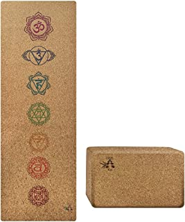 ONE Bae Premium Natural Cork Yoga Mat with 100% Organic Natural Rubber Bottom, Comes with Yoga mat Strap & Yoga Strap and a Cork Yoga Block for Your Yogi Needs 68in X 24in 4.5mm Thick