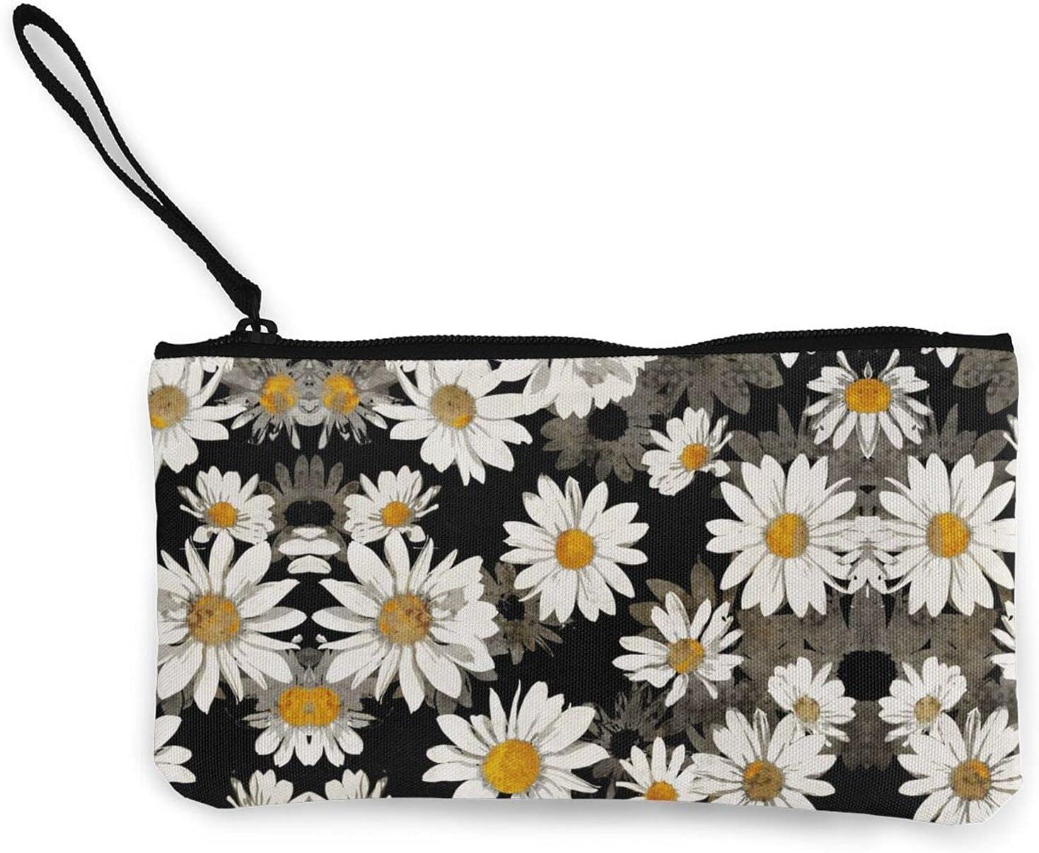 Floral White Daisy Zipper Pouch/ Canvas Coin Purse Wallet/ Cute Mini Change Wallet For Women/ Pouch Card Holder Phone Storage Bag