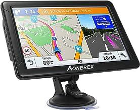 Aonerex - Navegación GPS para coche de 9 pulgadas, pantalla táctil de alta definición, 8 GB, 256 MB de navegación por satélite, con mapa de por vida, instrucciones de giro de voz