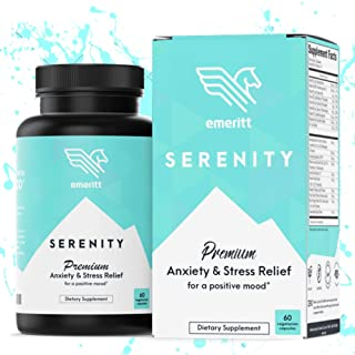 Serenity Anxiety and Stress Relief Supplement - Premium Herbal Blend for Natural Calm and Positive Mood - No Niacin Flush - with Ashwagandha, Rhodiola, B12, L-Theanine, 5-HTP and More - 60 Veg Caps