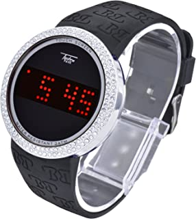 Techno Pave Iced Out Bling Lab Diamond Silver Black Digital Touch Screen Sports Watch Silicone Band