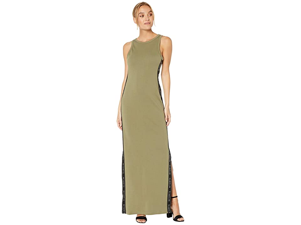 Bebe Logo Tape Long Dress (Deep Lichen Green) Women's Dress