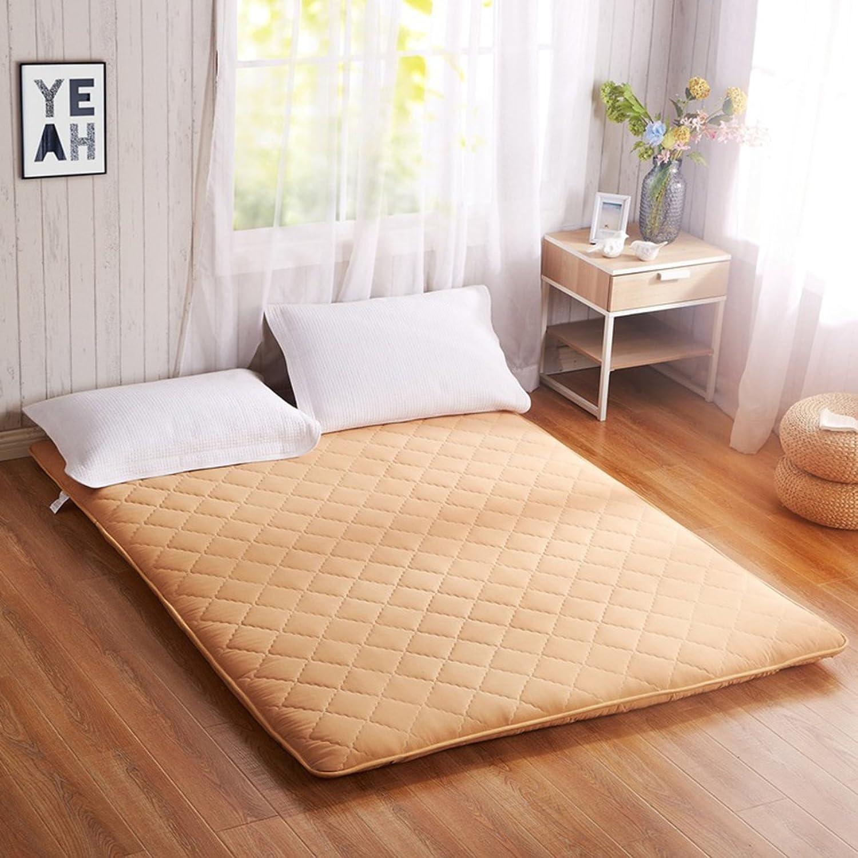 Double Tatami Mattress, Student Dorm futon Mattress Topper Portable Sleeping pad Non-Slip Floor mat Quilted Foldable Cushion mats-Yellow 90x200cm(35x79inch)