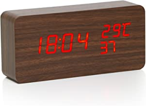 TRIXES Brown Wood Effect Digital Alarm Clock